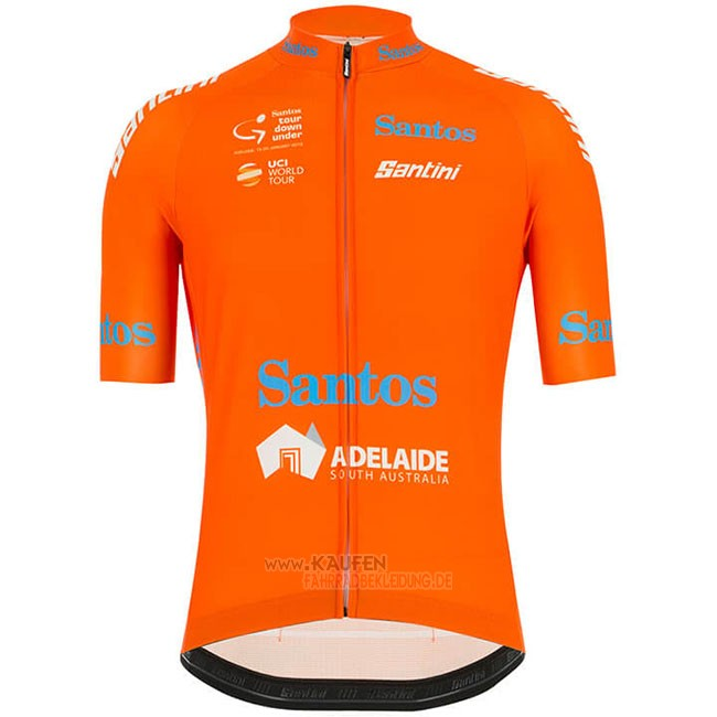 Tour Down Under Ochre Kurzarmtrikot 2019 und Kurze Tragerhose Orange
